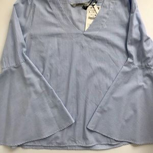 ZARA Blue & White Pin Stripe Bell Sleeve Blouse